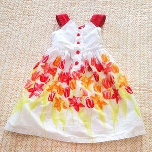 Floral Girls Sleeveless Button-Front Dress